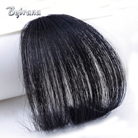 Bybrana Clip In Human Hair Extensions Human Remy Hair Bangs Two Styles Natural Color 1Pc Free