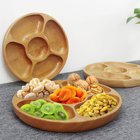 Rubber Beech Natural Wooden Food Nut Snack Candy Organized Storage Trays Wooden Tableware Dried Fruit Nut Plate