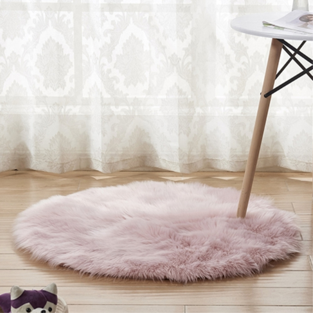 Luxury Round Pink Sheepskin Hairy Carpet Faux Mat Seat Pad Fur Plain Fluffy Soft Area Rug Tapetes|Rug| |  - title=
