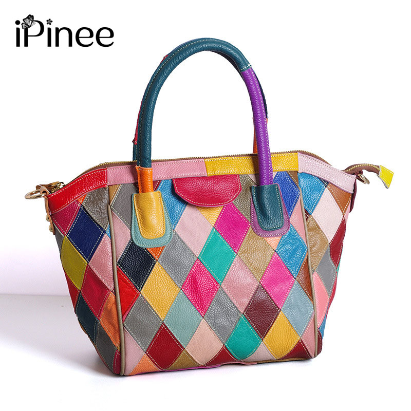 iPinee Guaranteed 100% Natural Genuine Leather Women Handbag Colourful  First Layer Of Cowhide Tote Fashion Women Messenger BagsiPinee Guaranteed 100% Natural Genuine Leather Women Handbag Colourful  First Layer Of Cowhide Tote Fashion Women Messenger Bags