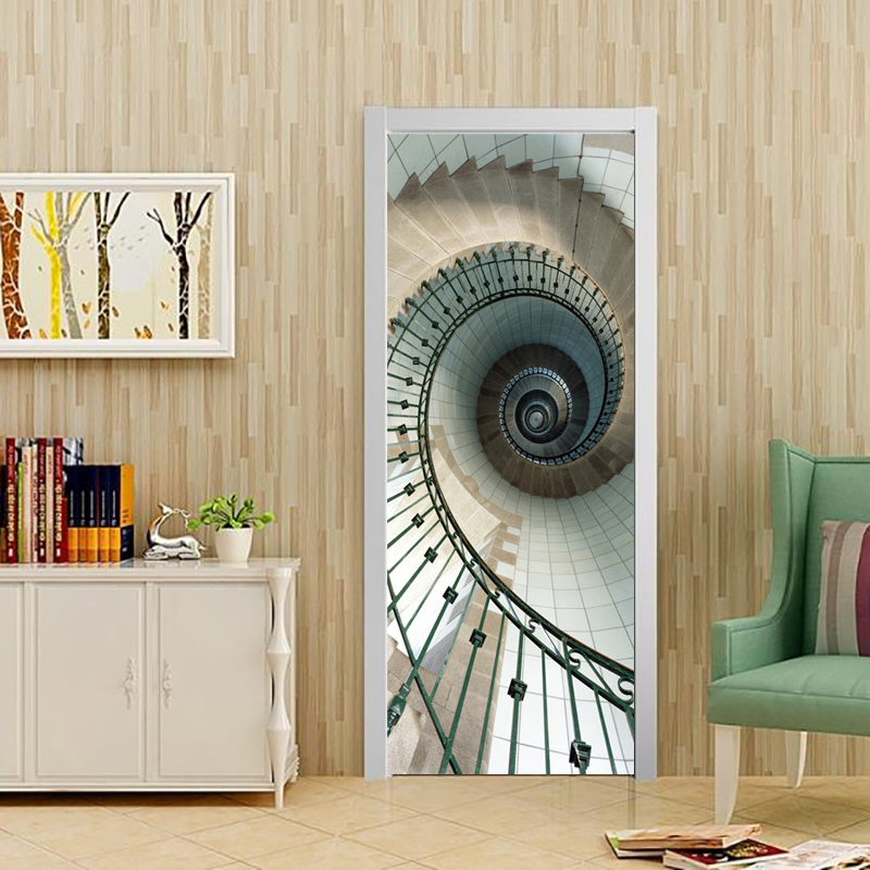 Creative DIY 3D Door Stickers Spiral Staircase Pattern For