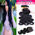 8A Brazilian Virgin Hair With Closure 3 Bundles Deal Brazilian Body Wave With Lace Closure Cheap Human Hair Weave And Closure