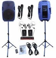 2 STARAUDIO Blue 3500W 15 PA Powered Active DJ Stage MP3 BT USB SD Speakers W