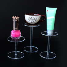 Set of three round acrylic cosmetic display jewelry stand holder small tea cup display props toy shelf