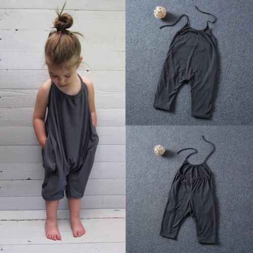 26e3a1b88a96 2017 Fashion Kids Baby Girls Strap Cotton Romper Jumpsuit Harem Trousers  Summer Clothes