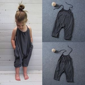 2017 Fashion Kids Baby Girls Strap Cotton Romper Jumpsuit Harem Trousers Summer Clothes(China)