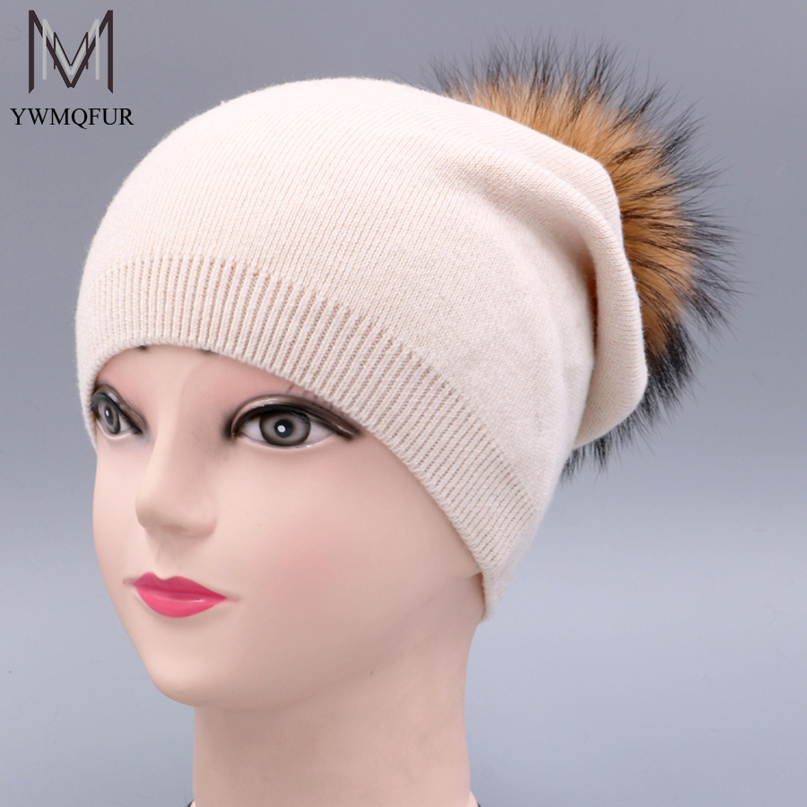 YWMQFUR Autumn Winter Knitted Wool Hats For Women Pompon Beanies Fur Hat Female Warm Caps With Genuine Raccoon Ball Fur Cap H80 bingyuanhaoxuan2017 warm patchwork hats casual female autumn winter hats handmade coarse knitted hat for women beanies candy cap