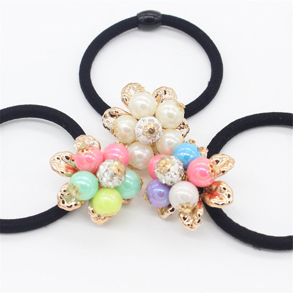 Vigueur 2017 Elastics Hair  Accessories Children Holders Rubber Bands Girls Cute Pearl Tie Gum Multicolor Headwear 30pcs candy fluorescence colored hair holders high rubber baby bands hair elastics accessories girl women tie gum and spring