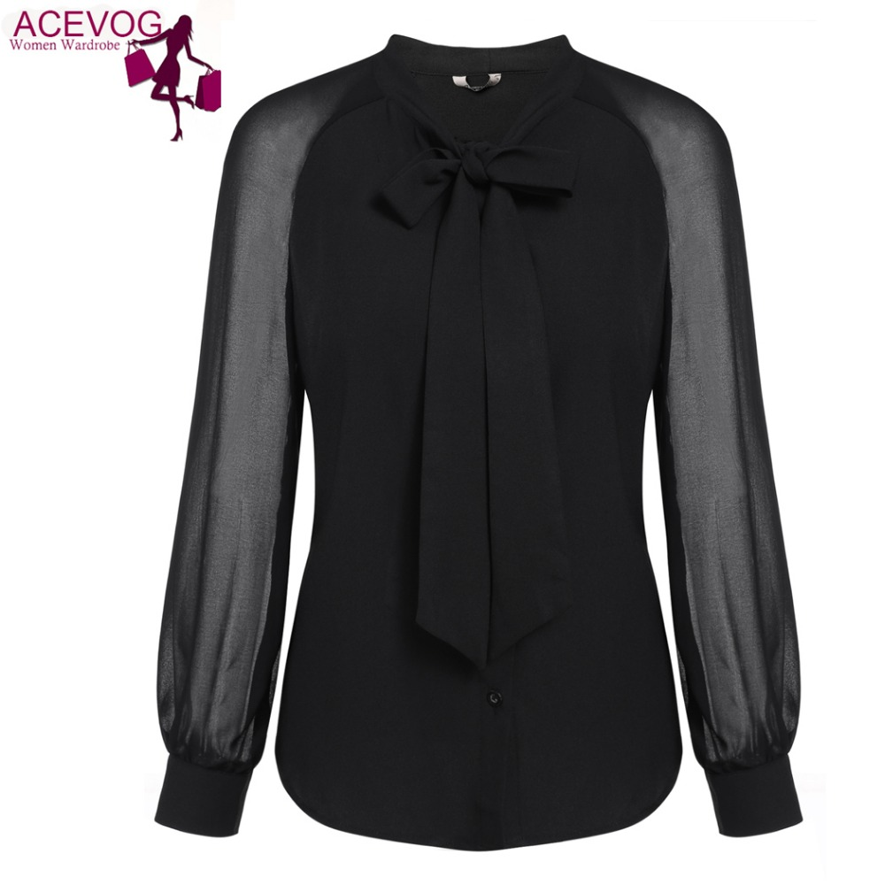 ACEVOG 2017 Spring Loose Blouse Black White Women Bow-Tie Neck Long Sleeve  Patchwork Casual Button Down Shirt OL Work Blouse - Online Get Cheap White Blouses For Work -Aliexpress.com Alibaba