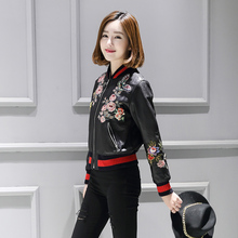 2016 New Flower Embroidery Print Baseball Leather Jacket Black Outfit Women Faux Soft Leather Jackets Pu Zip Coat Bomber Jacke