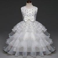 Los Bebés de La Princesa Vestido de Boda Eventos Niños Traje de Niña de las Flores Ropa de dama de Honor Vestidos Formales 3-12Y Volantes En Capas