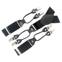 MBD8623 New Arrival Genuine leather male elastic 6 clasps adjustable Black Men suspenders Wedding Braces