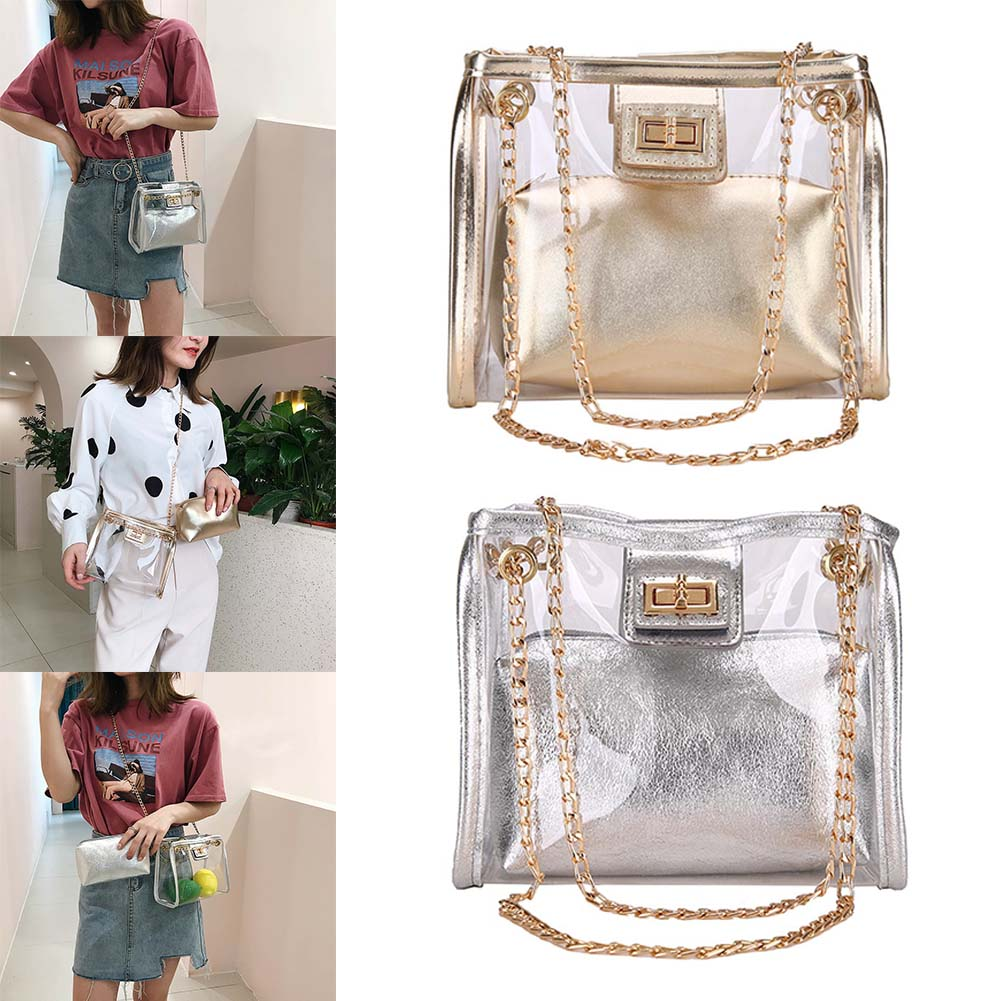 2019 New Clear Purse 2 in 1 Tote Transparent Bag Top Ring Handbag Golden Chain PVC Shoulder Bag WML992019 New Clear Purse 2 in 1 Tote Transparent Bag Top Ring Handbag Golden Chain PVC Shoulder Bag WML99