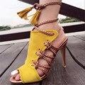 Moda Corda de Tiras Mulheres Verão Sandálias Gladiador Rendas Até Sapatos De Salto Alto Peep Toe Oco Out Mulheres Bombas Stilettos Zapatos Mujer