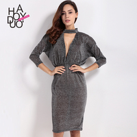 Haoduoyi2017 Autumn New Dress The European And American Fashion Sexy Deep V Fold Of Tall Waist
