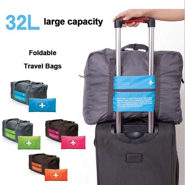 2076f10d0698 New Unisex Lightweight Large Capacity Folding Luggage Bag Waterproof  Airplane Travel Trolley Travel Bag Canvas Handbags