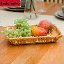 DIY Storage Baskets Rattan Handwork wicker rattan Basket snack Bread food fruit basket Trays for kitchen living room dining