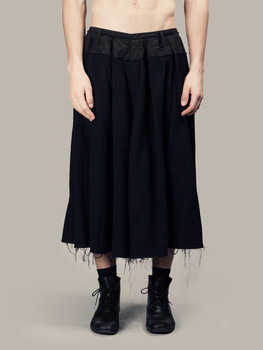 S-6XL!!Fashionable cotton and hemp stitching skirt trousers men and women with the side design seven fold skirt wide leg pants.