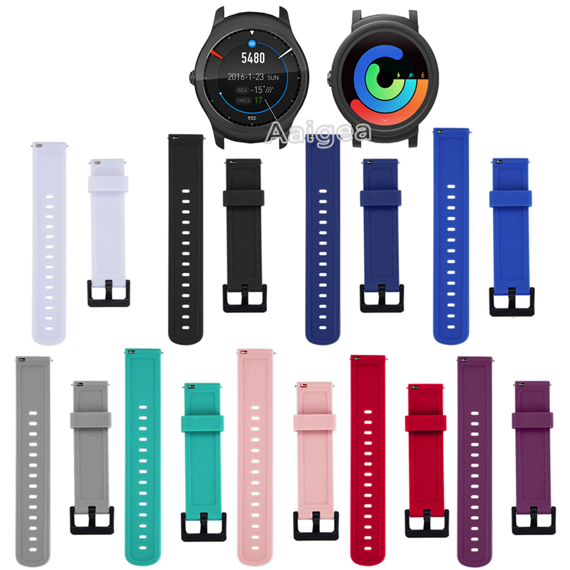 Fashion Soft Silicone Watch Strap Band For Ticwatch E Replacement New Sport Bracelet 20mm Wrist Band Strap Unisex For Ticwatch 2