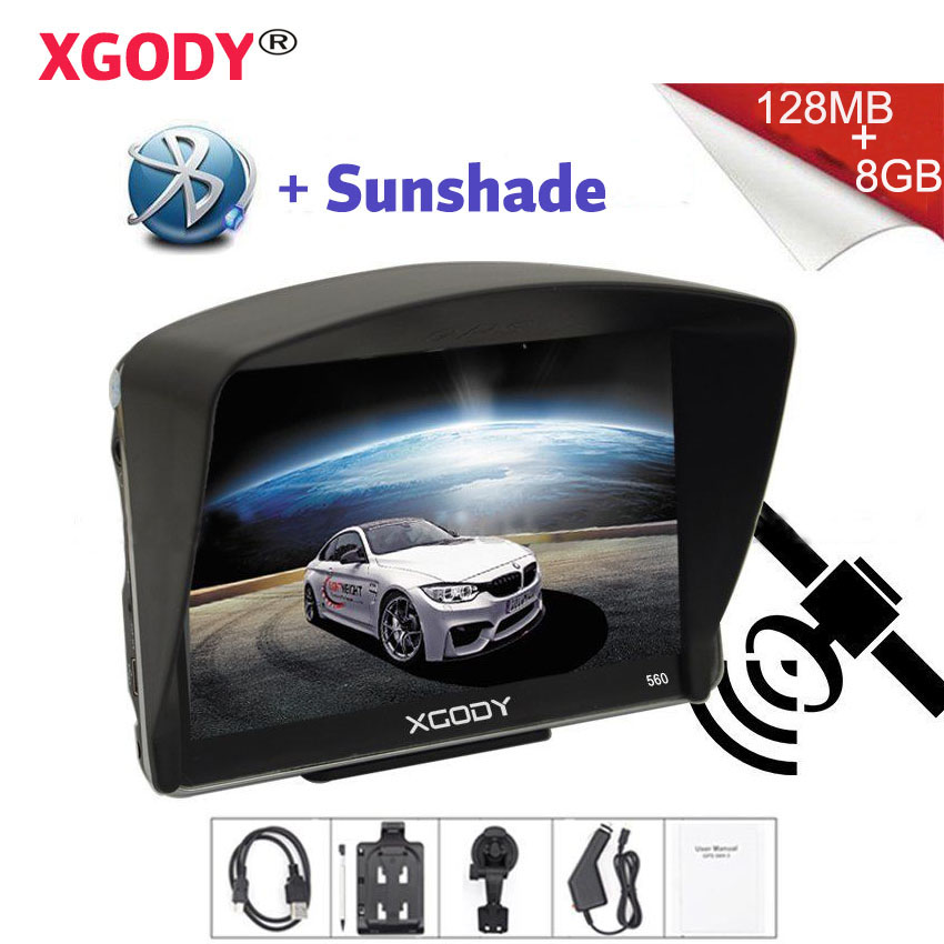 Xgody Car-Gps-Navigator Sunshade Bluetooth With 8GB 560 Map Vehicle 128mb Russia 5''