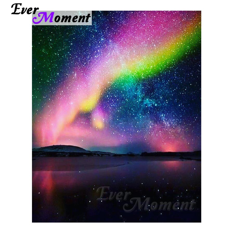Ever Moment Diamond Painting Rainbow Star Night Full Square Drill Diamond Embroidery Decoration For Home Picture Mosaic S2F583Ever Moment Diamond Painting Rainbow Star Night Full Square Drill Diamond Embroidery Decoration For Home Picture Mosaic S2F583