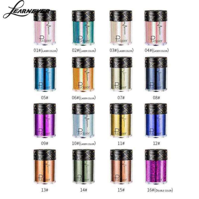 New Glitter Eyeshadow Powder Pigments Eye Shadow Easy To Wear Waterproof Shimmer Cosmetics Powder Make Up Single Metallic Color