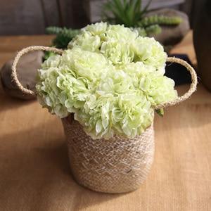 Image 2 - ผ้าไหมสีชมพูไฮเดรนเยียประดิษฐ์ดอกไม้งานแต่งงานดอกไม้สำหรับเจ้าสาวผ้าไหม Blooming Peony ปลอมดอกไม้สีขาวตกแต่ง