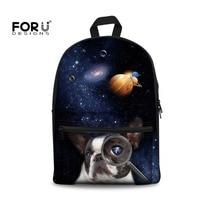 FORUDESIGNS Galaxy French Bulldog Printing Children School Bags For Girls Teenagers Backpacks Canvas Schoolbags Mochila Infantil