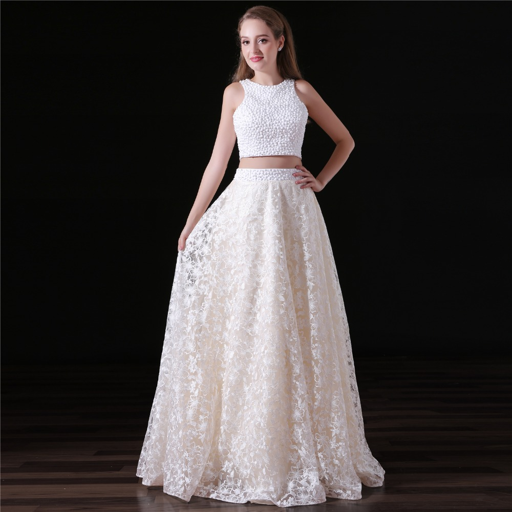 JaneVini Elegant   Bridesmaid     Dress   Long for Wedding Party Beaded 2 Pieces Lace Red Carpet   Dresses   Prom Formal Gown Vestido Longo