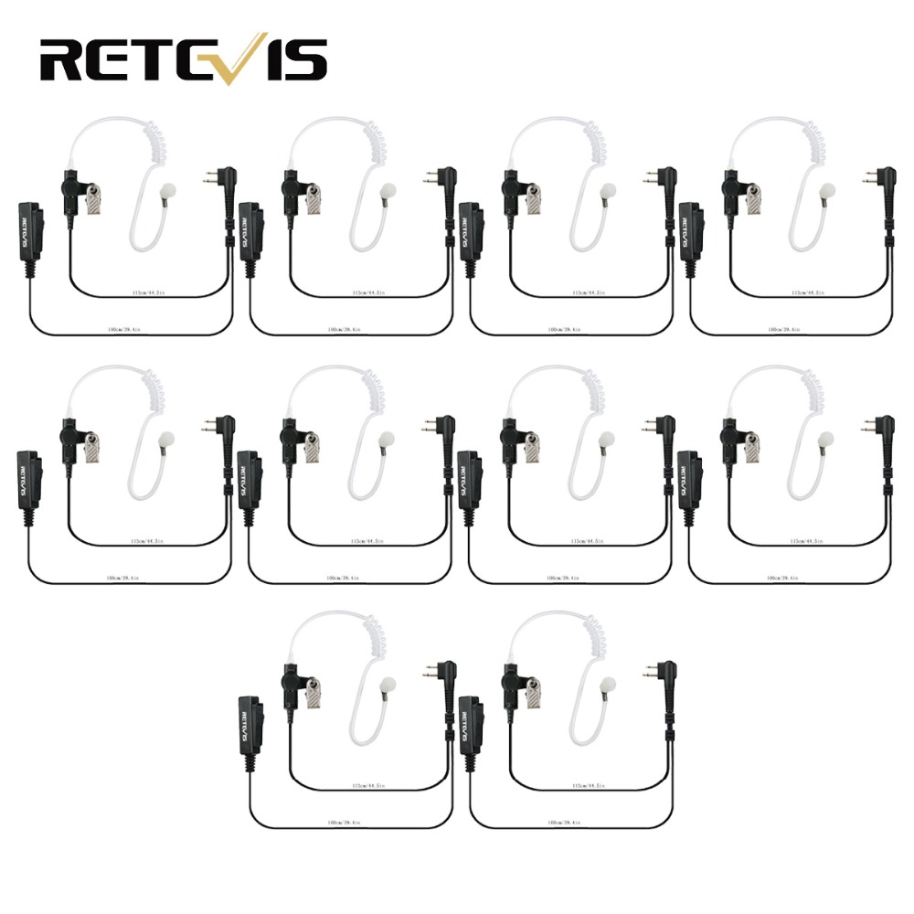 10pcs Earpiece MIC 2 PIN Covert Acoustic Tube For Motorola GP88 300 2000 CT150 P040 PRO1150 XTN500 Walkie Talkie C9006A
