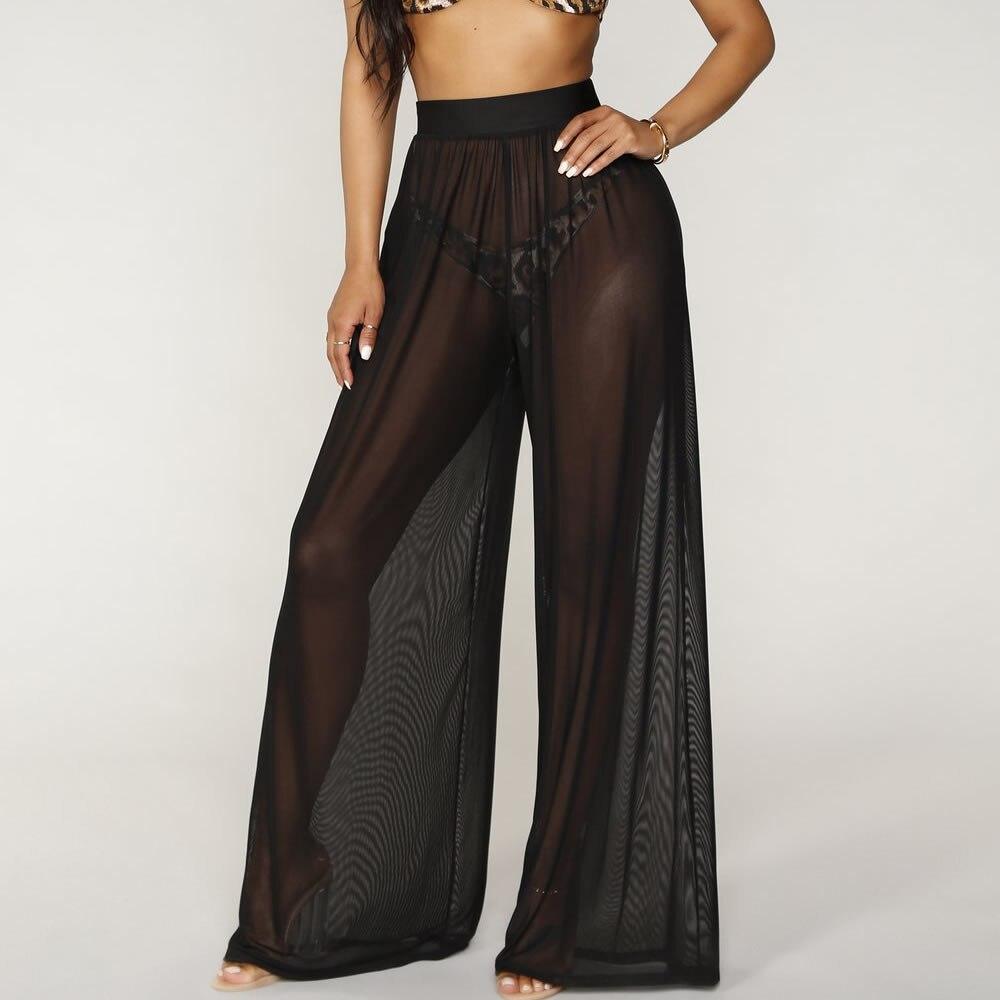Transparent Black Color Mesh Wide Leg Pants Women Summer 2019 Streetwear High Waist Pants Elastic Casual Loose Long Trousers