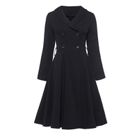 Vintacy Women A Line Dress Turn Down Collar Double Breasted 1950s Style Dress Long Sleeve Lady