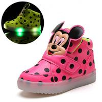 Children Single Boots Baby Toddler Girls Lights LED Fashion Sports Casual Mickey Flat Shoes Chaussure Led
