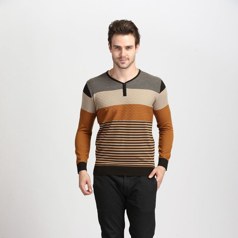 2016 Spring New Fasion Contrast Color Striped Men s Long Sleeve Thin Knitted Sweater