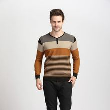 2016 Spring New Fasion Contrast Color Striped Men's Long Sleeve Thin Knitted Sweater