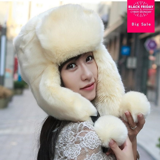 6dba97e5504 Hooded hat female winter faux fur horn rabbit hair bomber hats thicker warm  hat fashion brand