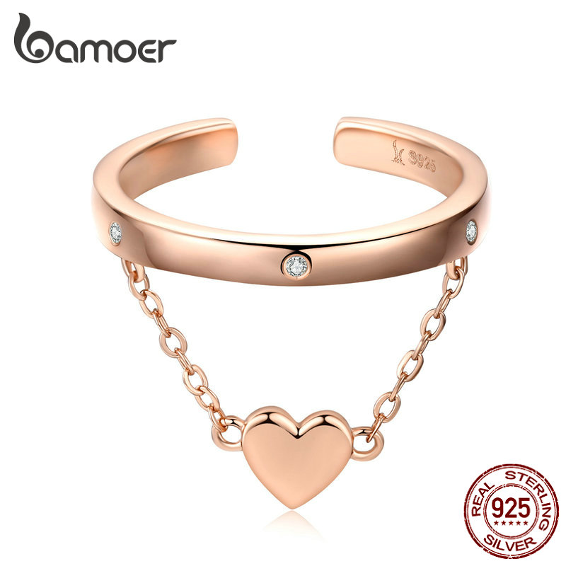 bamoer Double Layer Heart Wedding Ring Band for Women Rose Gold Color 925 Sterling Silver
