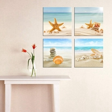 Mediterranean Sea Canvas Painting Art Print Beach Stone Sea Shells Sand Sunshine 4 PCS Wall Art Vintage Home Decoration Dropship