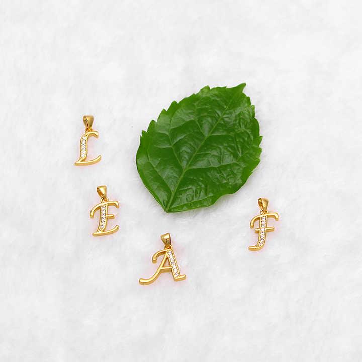 Fansheng Pequenas Letras Encantos do Ouro Colar de Pingente de Zircônia Cúbica Carta A-Z Sem Jóias Cadeia para As Mulheres/Homem/Bebê