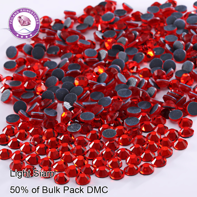 Light Siam Red Color DMC 50% Wholesale Flatback Strass Hotfix Rhinestones For Clothes Machine Cut Glass Stones Sewing Acessories