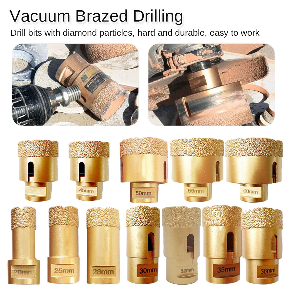 1pc Diamond Vacuum Brazed Drilling Core Bits M14 Connection Drill Bits Hole Diamond Height 15MM Dry/wet Drilling