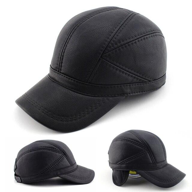 BFDADI Высокое качество Искусственной Кожи hat подлинной зимой кожа шляпа бейсболки регулируемые для мужчин черные шляпы Бесплатная Доставка