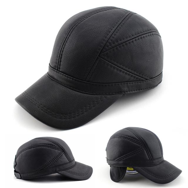 BFDADI Falso de Alta qualidade chapéu De Couro genuíno chapéu do inverno chapéu de couro boné de beisebol ajustável para homens negros chapéus Frete Grátis