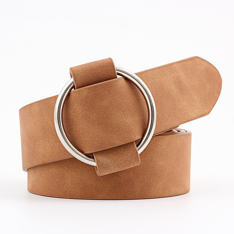Женский кожаный ремень, новые круглые пряжки, ремни для женщин, для досуга, джинсы, дикие, без шпильки, металлическая пряжка, женский ремень - Цвет: Style 1 Camel