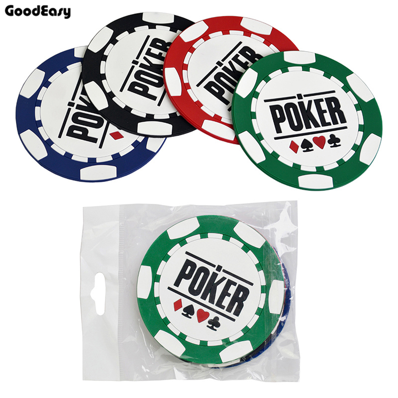High Quality 4pcs/set Soft Plastic Poker Flowers Circular Coasters Poker Tables Chess Tables Chip Table Accessories Coasters