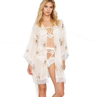 Beach Casual Floral Kimono Stitch Open Blouses Long Women Lace Patchwork Sashes Crochet Cape Tops Free