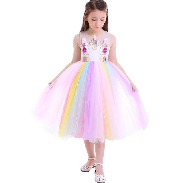 6a411219 Flower Girls Dress Rainbow Unicorn Sequin Dress Wedding Birthday Party  Princess Dress Sleeveless Pleated Kids Dresses for Girls