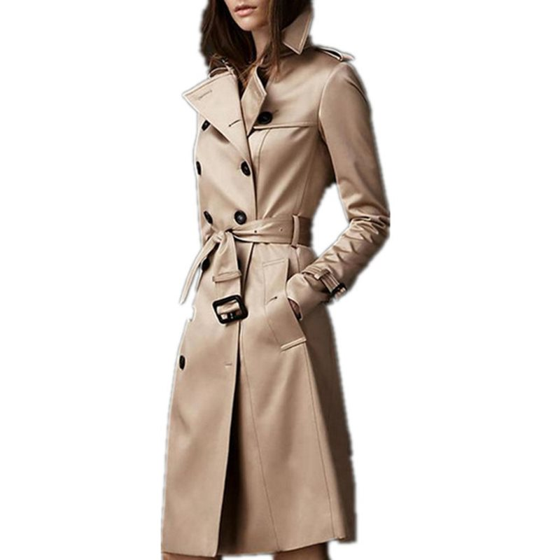 Autumn Casual Elegant Vintage Office Ladies Women Long   Trench   Coats Slim Thin Button Pocket Plain 2019 Fall Female Chic Outwears