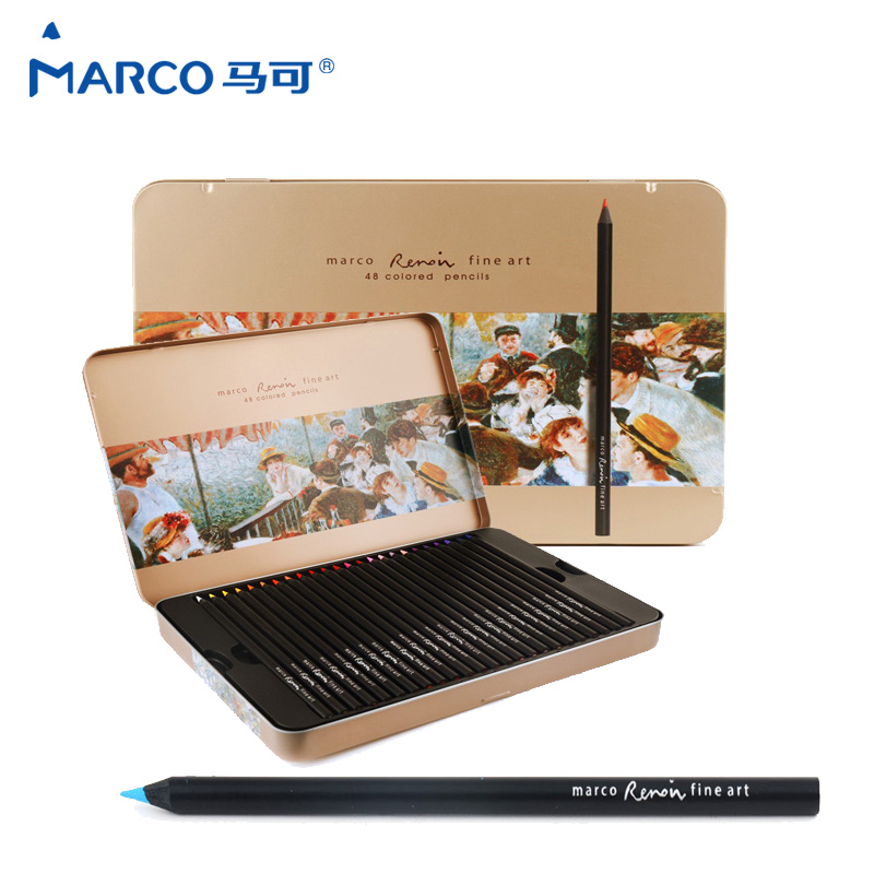 Marco raffine Fine Art Professional Olyce Color Pencils 48 Colours Lapis De Cor Farget blyant for kunstmateriell Tin Box