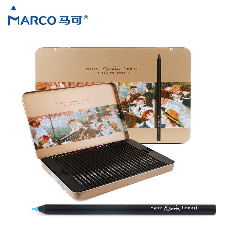 Marco rafline lápis de cor profissional lápis cor oleosa 48 cores lápis colorido para a arte suprimentos lata caixa